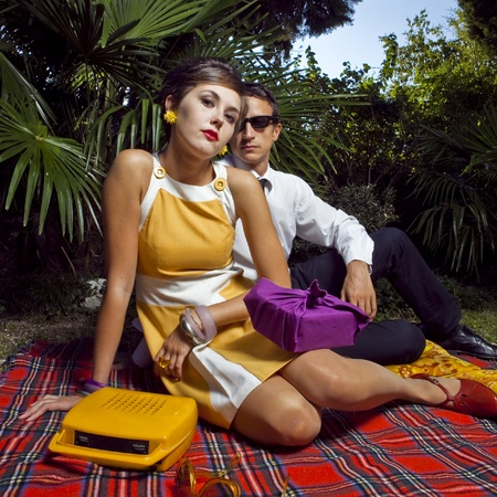 fashion portrait of retro sixties style young couple Stock Photo