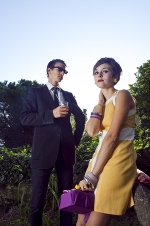 60s fashion: fashion portrait of retro sixties style young couple Stock Photo