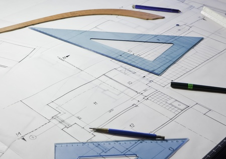 architectural project  architect rolls and plans Stock Photo - 13786252