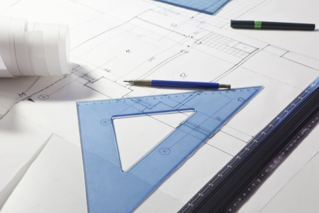 architectural project. architect rolls and plans Stock Photo - 13785715