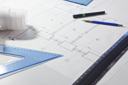architectural project. architect rolls and plans Stock Photo - 13787890