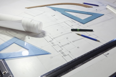 architectural project. architect rolls and plans Stock Photo - 13787895