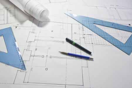 architectural project. architect rolls and plans Stock Photo - 13787892