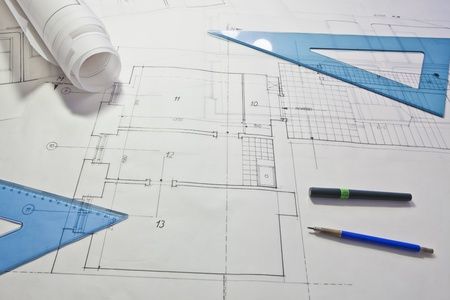 architectural project. architect rolls and plans Stock Photo - 13787878