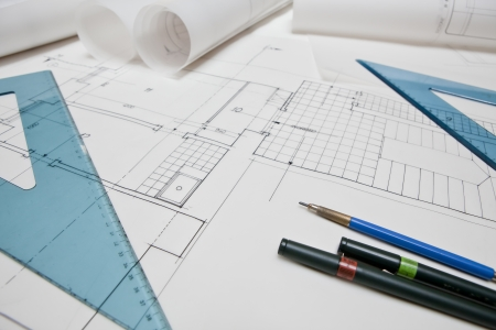 architectural project. architect rolls and plans Stock Photo - 13787882