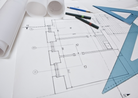 architectural project. architect rolls and plans Stock Photo - 13787891