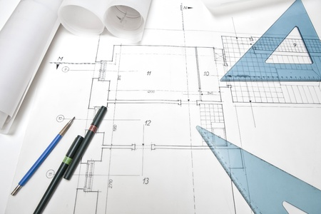 architectural project. architect rolls and plans photo