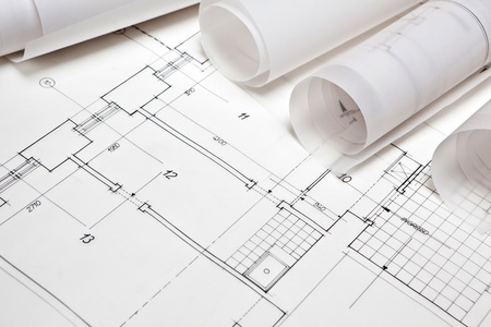 RENOVATE: architectural project. architect rolls and plans Stock Photo