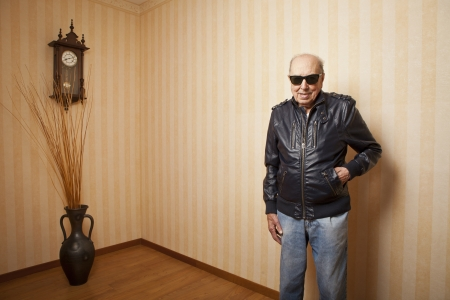 grandfather clock: cool fashion elder man with sunglasses