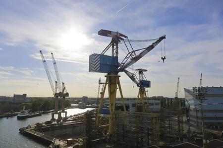 Giant cargo cranes at the shipyard photo