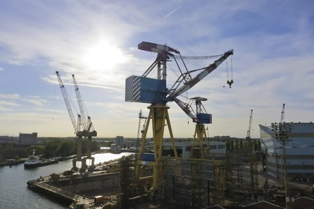 marine industry: Giant cargo cranes at the shipyard Stock Photo