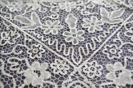 vintage lace tablecloth detail photo