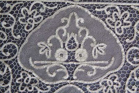 vintage lace tablecloth detail photo