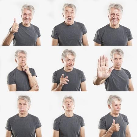Ältere Menschen Gesichtsausdrücke Composite isoliert auf weißem Hintergrund Standard-Bild