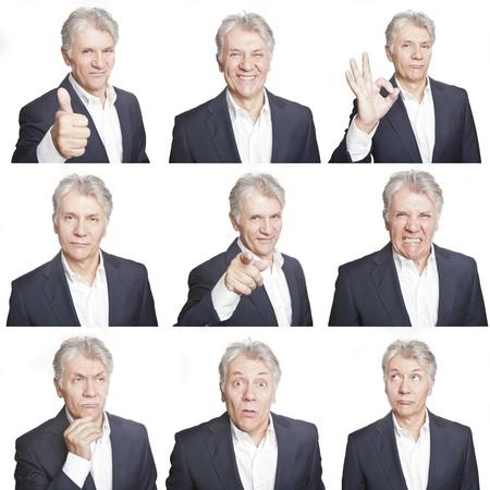 gestos de la cara: cara de hombre maduro expresiones compuestas aisladas sobre fondo blanco