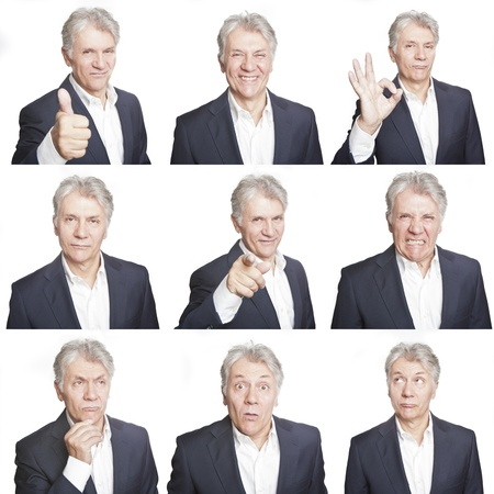 mature man face expressions composite isolated on white background photo