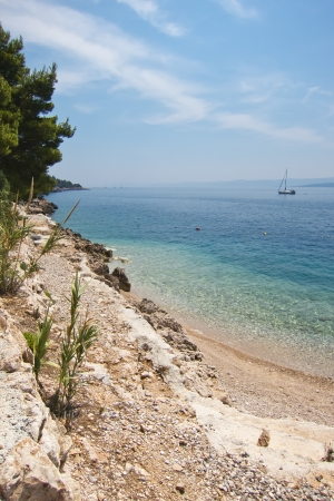 brac: beautiful rocky beach in Brac island, croatia Stock Photo