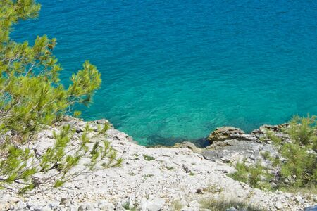 adriatic: beautuful rocky beach in crotia, wonderful nature, blue water
