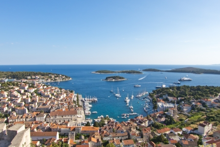 Hvar, harbor of old Adriatic island town  panoramic view  Popular touristic destination of Croatia  photo