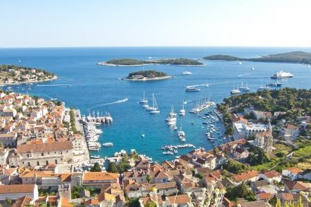 adriatic: Hvar, harbor of old Adriatic island town  panoramic view  Popular touristic destination of Croatia