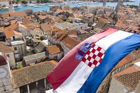 croatian: croatian flag on the city of trogir in dalmatia Stock Photo