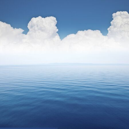 heaven background: beautiful sea and cloud sky at the horizon, seascape background Stock Photo