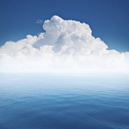 beautiful sea and cloud sky at the horizon, seascape background photo