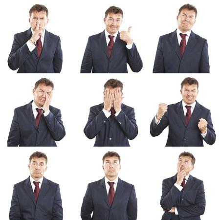 Geschäftsmann Gesichtsausdrücke Composite isoliert auf weißem Hintergrund Standard-Bild