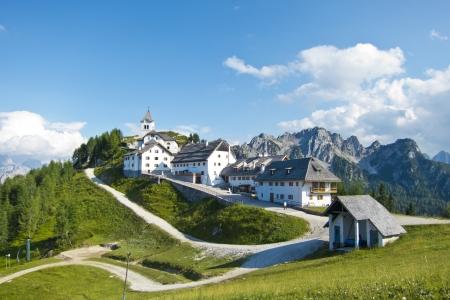 panoramic view of monte lussari, small mountain village