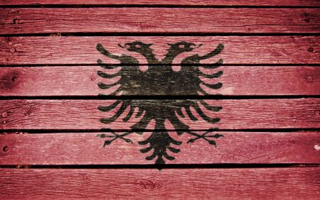 albanian: albanian flag painted on old wood plank background