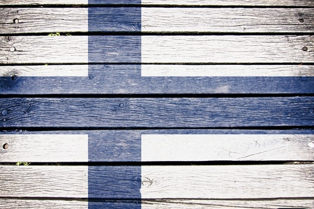 finnish: finland, finnish flag painted on old wood plank background