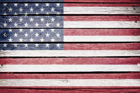 old wood: USA, American flag painted on old wood plank background Stock Photo