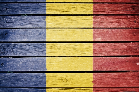 romanian: romania, romanian flag painted on old wood plank background