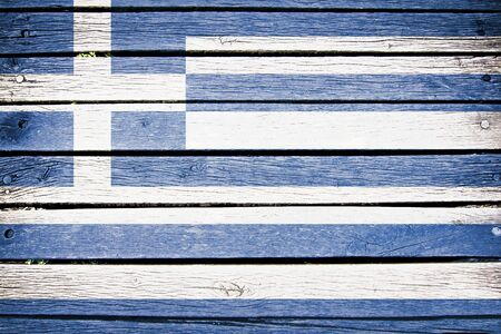 greece flag: greece, greek  flag painted on old wood plank background Stock Photo