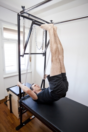 man practicing pilates Stok Fotoğraf - 15315321