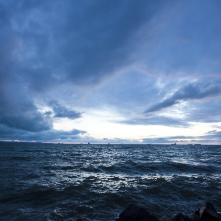 sunset on the sea, storm seascape Stock Photo