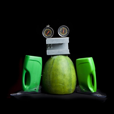 cute funny robot toy made of garbage. recycling waste Stock Photo - 16613963