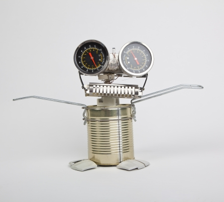 cute funny robot toy made of garbage  recycling waste