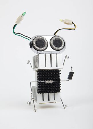 cute funny robot toy made of garbage  recycling waste Stock Photo - 16613939