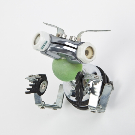 metal recycling: cute funny robot toy made of garbage  recycling waste
