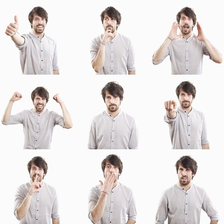 gestos de la cara: rostro joven expresiones compuesto aislado sobre fondo blanco