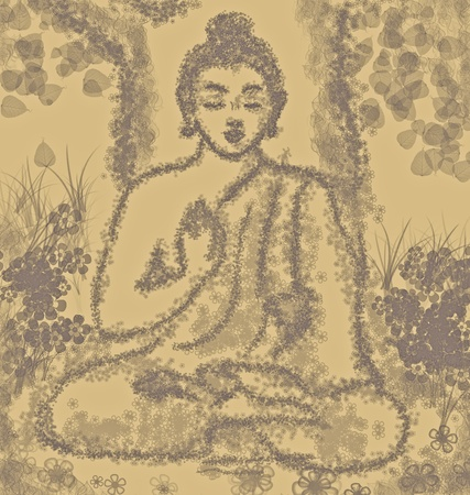 drawing of meditating buddha photo