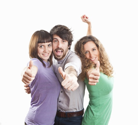 group of three positive happy friends Stockfoto