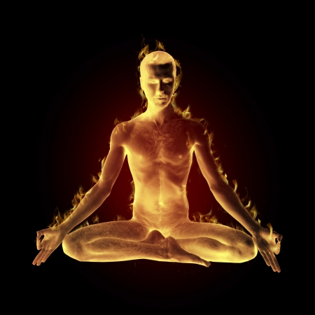 yogi madetation in lotus pose on fire Imagens
