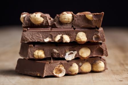 avellanas: De chocolate con avellanas Foto de archivo