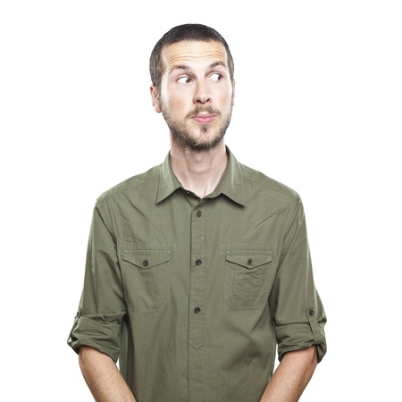 portrait of a young beautiful man surprised face expression Standard-Bild