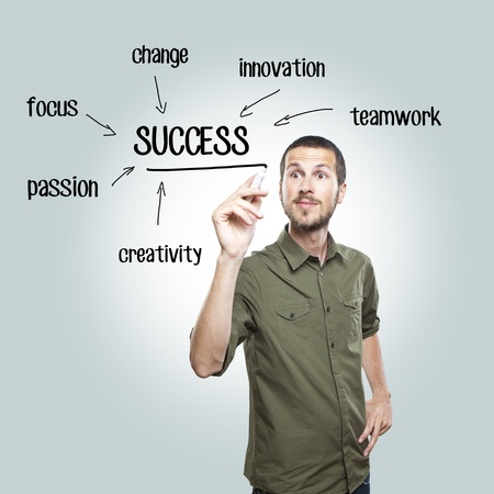 young casual man writing success diagram on glass board with marker photo