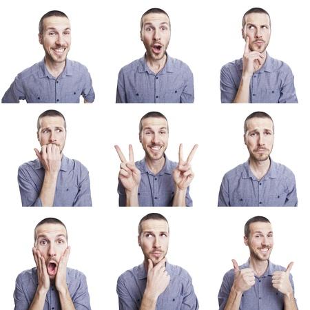 junger Mann, der lustiges Gesicht Ausdrücke Composite-isoliert auf weißem Hintergrund