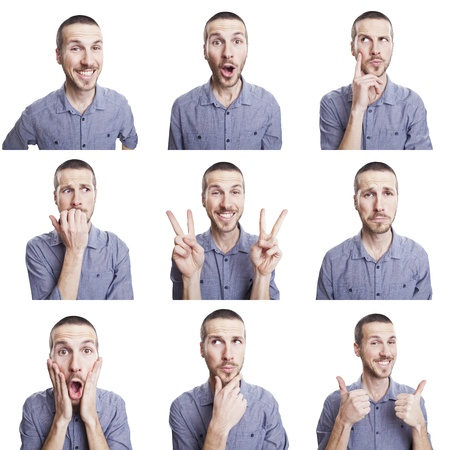 emotions faces: young man funny face expressions composite isolated on white background Stock Photo