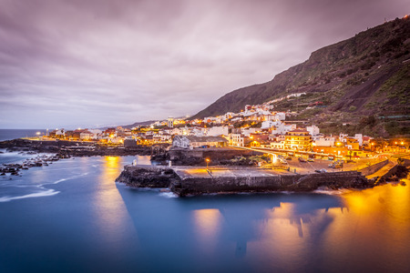 spanish architecture: view of Garachico in the evening  in Tenerife island - Canary Spain